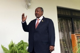 Djibouti's President Ismail Omar Guelleh arrives for a Reuters interview at his home in Ethiopia's capital Addis Ababa, January 30, 2016. China is expected to start work in Djibouti soon on a naval base, Djibouti's president told Reuters, defending Beijing's right to build what will be its first foreign military outpost on one of the world's busiest shipping routes. Picture taken January 30, 2016. REUTERS/Edmund Blair