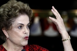 (FILE) A file photo dated 16 March 2016 shows Brazilian President Dilma Rousseff during a press conference in Brasilia, Brazil. Reports on 11 April 2016 state that a parliamentary committee has voted to go ahead with impeachment proceedings against President Dilma Rousseff over claims she manipulated budget numbers to understate the size of the deficit.