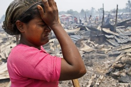Rohingya woman cries near after a fire accident at a Baw Du Ba Muslim (Rohingya) internally displaced person (IDPs) camp near Sittwe, Rakhine State, western Myanmar, 03 May 2016. The fire broke out in the morning of 03 May 2016 at Rohingya IDPs camp which burned down 55 buildings, each with 8 rooms, making 1744 IDPs from 435 households homeless.