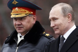 Russian President Vladimir Putin (R) and Russian Defense Minister Sergey Shoygu (L) attend a wreath-laying ceremony at the tomb of the unknown soldier, near the Kremlin during the national celebrations of the 'Defender of the Fatherland Day' in Moscow, Russia, 23 February 2016. Defender of the Fatherland Day is observed in most of Russia and former Soviet republics to commemorate the people serving in the Russian Armed Forces.