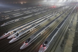CRH380 (China Railway High-speed) Harmony bullet trains are seen at a high-speed train maintenance base in Wuhan, Hubei province, in this December 25, 2012 file photo. Thirty-five construction companies, financiers, train manufacturers and operators from around the world have expressed interest in working on California's $68 billion high-speed train.REUTERS/Stringer  CHINA OUT. NO COMMERCIAL OR EDITORIAL SALES IN CHINA