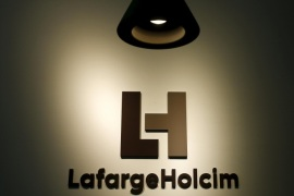 "The LafargeHolcim logo is seen at the company headquarters in Zurich, Switzerland, in this July 15, 2015 file photo.  REUTERS/Arnd Wiegmann/Files   GLOBAL BUSINESS WEEK AHEAD PACKAGE – SEARCH ""BUSINESS WEEK AHEAD MARCH 14"" FOR ALL IMAGES"