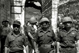 "Retired General Uzi Narkiss (L) is seen in this file photo, taken in June 1967 at the end of the ""Six Day War"", entering Jerusalem's Old City via the Lion's Gate with then Defense Minister Moshe Dayan (C) and then Chief of Staff Yitzhak Rabin (R).   To match Special Report ISRAEL-JERUSALEM/DOME      REUTERS/GPO/Ilan Bruner/Handout via Reuters   ATTENTION EDITORS – THIS IMAGE WAS PROVIDED BY A THIRD PARTY. ISRAEL OUT. NO COMMERCIAL OR EDITORIAL SALES IN ISRAEL. FOR EDI"