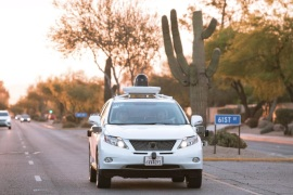 Test drivers use a Lexus SUV, built as a self-driving car, to map the area prior to a journey without a driver in control, in Phoenix, Arizona April 5, 2016 in a photo provided by Google. Alphabet Inc is expanding its testing of self-driving cars to the Phoenix, Arizona metro area, the company said on Thursday, making it the fourth U.S. city to serve as a proving ground for the autonomous vehicles.  REUTERS/Google/Handout via Reuters       ATTENTION EDITORS – THIS PICTU