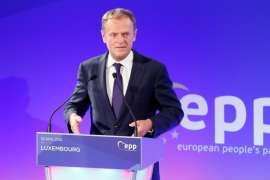 European Council President Donald Tusk delivers a speech during the (EPP) European People's Party's 40th anniversary at the European Convention Center in Luxembourg, 30 May 2016.