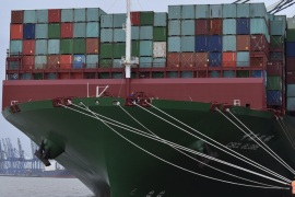 The largest container ship in world, CSCL Globe, docks during its maiden voyage, at the port of Felixstowe in south east England, in this file photograph dated January 7, 2015. British exporters experienced the weakest growth in orders since the depths of the financial crisis in the three months to September, a survey showed on November 3, 2015, adding to signs that overseas demand has faltered. The British Chambers of Commerce said firms taking part in its quarterly tr