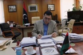 Prime Minister of Libya's unity government Fayez Seraj works in his office at Tripoli's naval base after an interview with Reuters, June 3, 2016. REUTERS/Ismail Zitouny