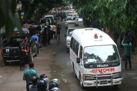 Police ambulances carry bodies of the foreigners from the Holey Artisan Bakery in Dhaka, Bangladesh, 02 July 2016. The death toll rises to 22 including 20 foreigners while six gunmen have been shot and killed during an operation to end a hostage situation by military commandos, while two policemen were killed by the gunmen earlier and more than 20 people were injured. The operation team has managed to rescue 13 hostages, as Prime Minister Sheikh Hasina announced a two-d