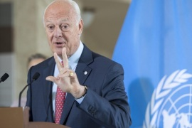 Staffan de Mistura, UN Special Envoy of the Secretary-General for Syria, speaks  to the media about the International Syria Support Group's Humanitarian Access Task Force, at the European headquarters of the United Nations, in Geneva, Switzerland, 14 July 2016.