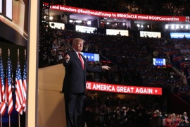 Donald Trump arrives to deliver his address during the final day of the 2016 Republican National Convention at Quicken Loans Arena in Cleveland, Ohio, USA, 21 July 2016. The four-day convention is expected to end with Donald Trump formally accepting the nomination of the Republican Party as their presidential candidate in the 2016 election.