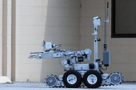 A handout picture provided by the US Defence Video Imagery Distribution System (DVIDS) on 10 July 2016 shows a Remotec Andros F-6A bomb-disposal robot during an active shooter exercise by the xplosive Ordnance Disposal Mobile Unit (EODMU) 6, Detachment Mayport, in Mayport, Florida, USA, 22 February 2013. Five police officers were killed, and at least 9 injured, inlcuding two civilians, when shots were fired during a protest rally in downtown Dallas on 07 July 2016, offi