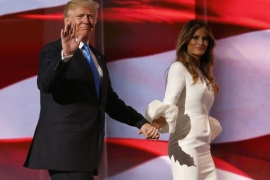 Donald Trump (L) escorts his wife Melania (R) after her speech during the second session on the first day of the 2016 Republican National Convention at Quicken Loans Arena in Cleveland, Ohio, USA, 18 July 2016. The four-day convention is expected to end with Donald Trump formally accepting the nomination of the Republican Party as their presidential candidate in the 2016 election.