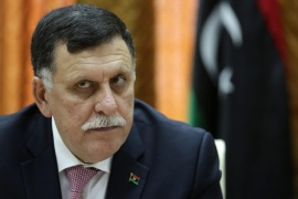Libya's unity government's Prime Minister-designate Fayez al-Sarraj chairs a meeting of the presidential council with Tripoli municipal council in Tripoli, Libya, 31 March 2016. Reports state Sarraj and the UN-backed presidential council arrived in Tripoli on 30 March.