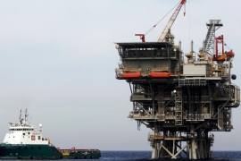 An Israeli gas platform, run by a U.S.-Israeli energy group that also controls the undeveloped Leviathan field, is seen in the Mediterranean sea, some 15 miles (24 km) west of Israel's port city of Ashdod, in this file picture taken February 25, 2013. When the Leviathan gas field was discovered off the coast of Israel in 2010, it was pitched as a game-changer — a vast energy reserve that would transform the economy and bolster public finances for years to come. Five y