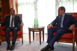 A handout picture released by the Russian Foreign Ministry shows Russian Foreign Minister Sergei Lavrov (R) meeting with Turkish Foreign Minister Mevlut Cavusoglu (L) in Sochi, Russia, 01 July 2016. The Russian and Turkish  ministers met to promote the process of normalization of Russian-Turkish relations. Sochi hosts a meeting of the Organization of the Black Sea Economic Cooperation (BSEC) Council of Foreign Affairs Ministers on July 01, 2016.  EPA/RUSSIAN FOREIGN AFF