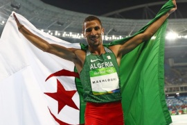 2016 Rio Olympics – Athletics – Final – Men's 800m Final – Olympic Stadium – Rio de Janeiro, Brazil – 15/08/2016. Taoufik Makhloufi (ALG) of Algeria celebrates winning the silver medal.  REUTERS/Kai Pfaffenbach FOR EDITORIAL USE ONLY. NOT FOR SALE FOR MARKETING OR ADVERTISING CAMPAIGNS.