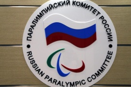 The logo of the Russian Paralympic Committee is attached to a wall at the office of Russian Paralympic Committee in Moscow, Russia 08 August 2016. The Russian Paralympic team will not be allowed to compete in the Rio 2016 Paralympic Games, the head of the International Paralympic Committee (IPC), Sir Philip Craven, announced 07 August, with 21 days allowed for Russia to appeal the ban.