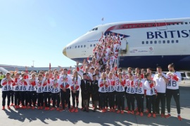 A handout picture provided by British Airways shows the British Olympic team arriving at Heathrow Airport, London, Britain, 23 August 2016. British athletes returned from the Rio Olympic Games in Brazil, with a record of 67 medals in total, including 27 gold medals.  EPA/BRITISH AIRWAYS/HANDOUT