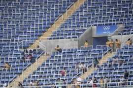 2016 Rio Olympics – Athletics – Preliminary – Men's 200m Round 1 – Olympic Stadium – Rio de Janeiro, Brazil – 16/08/2016. Empty seats     REUTERS/Dylan Martinez  FOR EDITORIAL USE ONLY. NOT FOR SALE FOR MARKETING OR ADVERTISING CAMPAIGNS.