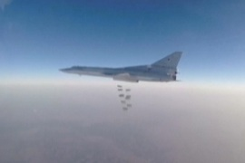 A still image, taken from video footage and released by Russia's Defence Ministry on August 11, 2016, shows a Russian Tupolev Tu-22M3 long-range bomber dropping off bombs at an unknown location in Syria. Ministry of Defence of the Russian Federation/Handout via REUTERS   ATTENTION EDITORS – THIS IMAGE WAS PROVIDED BY A THIRD PARTY. EDITORIAL USE ONLY. NO RESALES. NO ARCHIVES.
