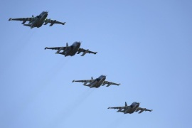 Russian Sukhoi Su-25 fighter jets fly in formation after returning from Syria, before landing at an airbase in Krasnodar region, southern Russia, in this March 16, 2016 handout photo by the Russian Ministry of Defence. REUTERS/Russian Ministry of Defence/Olga Balashova/Handout via Reuters        ATTENTION EDITORS – THIS IMAGE WAS PROVIDED BY A THIRD PARTY. REUTERS IS UNABLE TO INDEPENDENTLY VERIFY THE AUTHENTICITY, CONTENT, LOCATION OR DATE OF THIS IMAGE. THE PICTURE IS