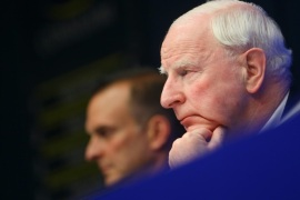 (FILE) A file picture dated 17 May 2013 shows President of the European Olympic Committee, Patrick Hickey (R), during a a press briefing at the EU headquarters in Brussels, Belgium. According to media reports on 17 August 2016, Hickey has been arrested in Rio de Janeiro, Brazil, over alleged illegal ticket sales for the Olympic games.