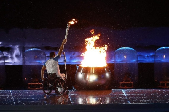 Paralympic athlete Clodoaldo Silva lights the paralympic flame during the opening ceremony of the Rio 2016 Paralympics Games at the Maracana Stadium in Rio de Janeiro, Brazil, 07 September 2016. The Rio 2016 Paralympics Games will run through 18 September.