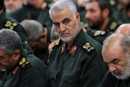 A handout picture made available by the Iranian supreme leader's official website showing Iranian Quds Force Head, General Ghasem Soleimani (C) along other commanders during a meeting with Iranian supreme leader Ayatollah Ali Khamenei in Tehran, Iran, 18 September 2016. Reports state the meeting was held on the occasion of the national 'Sacred Defense Week' which commemorates the 1980-1988 Iran-Iraq war.  EPA/LEADER OFFICIAL WEBSITE / HANDOUT