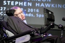 British physicist Stephen Hawking gives a speech about his the documentary 'A Brief History of Mine' at the 3rd Starmus Festival held in Arona, Tenerife, Canary Islands, Spain, 29 June 2016. The Starmus Festival 2016 will be the venue for experts from astronomy, art and music, from 27 June to 02 July, with the aim of making universal science and art accesible to the public. This edition is devoted to Hawking, considered one of the greatest scientists of all time.