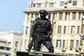 A police officer stands near Egyptian Journalists Syndicate, in Cairo, Egypt, 15 April 2016. Activists organised protests across the greater Cairo area against Egypt's acknowledgement that the two islands of Tiran and Sanafir in the Gulf of Aqaba belong to Saudi Arabia and had only been placed under Egypt's control temporarily.