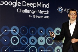 Demis Hassabis, co-founder of Google's artificial intelligence (AI) startup DeepMind, speaks during a press conference in Seoul, South Korea, 08 March 2016. South Korean Go player Lee Se-dol will compete against AlphaGo, an artificial intelligence system developed by Google, in a five-game match from 08 to 15 March.