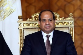 Egyptian President Abdel Fattah al-Sisi looks on during the meeting with Sudanese President Omar Bashir (Not Pictured), in Cairo, Egypt, 05 Otober 2016. The meeting came as part of the Egyptian-Sudanese high committee, and its the first time that two presidents have headed this committee as its always held at the prime ministerial level. A number of economic agreements was signed during the meeting.