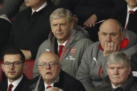 "Britain Football Soccer – Southampton v Arsenal – FA Cup Fourth Round – St Mary's Stadium – 28/1/17 Arsenal manager Arsene Wenger, coach Boro Primorac and Pat Rice in the stands Action Images via Reuters / John Sibley Livepic EDITORIAL USE ONLY. No use with unauthorized audio, video, data, fixture lists, club/league logos or ""live"" services. Online in-match use limited to 45 images, no video emulation. No use in betting, games or single club/league/player publications.  Please contact your account representative for further details."