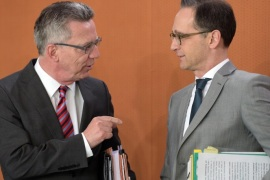 (FILE) – The file picture dated 04 November 2015 shows German Interior Minister Thomas de Maiziere (L) and Justice Minister Heiko Maas (R) talking at the cabinet meeting in the Federal Chancellery in Berlin, Germany. Maas and De Maiziere agreed and presented new plans for higher security measures against potential Islamist terrorists in Berlin on 10 January 2017, like closer surveillance on persons that are considered a potential threat and easier deportations.  EPA/RAI