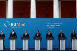 (L to R) Maltese Prime Minister Joseph Muscat, Italian Prime Minister Matteo Renzi, French President Francois Hollande, Greek Prime Minister Alexis Tsipras, Cypriot President Nicos Anastasiades, Portuguese Prime Minister Antonio Costa and Spanish State Secretary for the European Union Fernando Eguidazu attend a news conference during a summit of southern European states at Zappeion Hall in Athens, Greece, September 9, 2016. REUTERS/Michalis Karagiannis