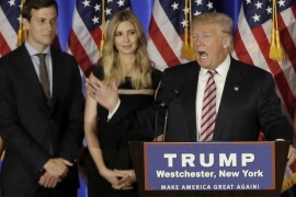 FILE PICTURE: Donald Trump speaks as his son-in-law Jared Kushner (L) and his daughter Ivanka listen at a campaign event at the Trump National Golf Club Westchester in Briarcliff Manor, New York, U.S., June 7, 2016.  REUTERS/Mike Segar/File Photo