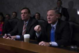 Chairman of the Senate Intelligence Committee Republican Senator Richard Burr (R), Vice Chairman of the Senate Intelligence Committee Democratic Senator from Virginia Mark Warner (C) and US Democratic Senator from California Diane Feinstein (L) after the lights went out during CIA Director nominee Congressman Michael Pompeo's confirmation hearing on Capitol Hill in Washington, DC, USA, 12 January 2017. Senate confirmation for President-elect Trump's nominees continues
