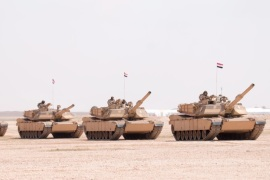 A handout photograph released by the official Saudi Press Agency (SPA) shows Egyptian tanks during the multi-national military exercise 'North Thunder, at an undisclosed location in Saudi Arabia, 02 March 2016. According to reports, some 350,000 military personnel and over 2000 warplanes from 20 countries are participating in the military maneuver, dubbed 'North Thunder'.  EPA/SAUDI PRESS AGENCY / HANDOUT