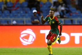 Football Soccer – African Cup of Nations – Burkina Faso v Cameroon – Stade de l'Amitie – Libreville, Gabon – 14/1/17. Cameroon's Benjamin Moukandjo celebrates scoring a goal. REUTERS/Mike Hutchings