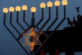 Europe's largest menorah is lit up at the Brandenburg Gate in Berlin, Germany, 22 December 2016. Hanukkah, also known as the 'Festival of Lights', is one of the most important Jewish holidays and is celebrated by Jews worldwide.