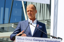 Chief Executive Officer of Airbus group Tom Enders delivers a speech during the inauguration of the new global headquarters of Airbus Group in Blagnac, near Toulouse, France, 28 June 2016. Airbus group was previously split between Paris and Munich. The new five building complex will welcome 1,500 employees.