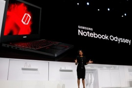 Alanna Cotton, vice president of Samsung Electronics America, introduces the Samsung Notebook Odyssey gaming laptop during a Samsung Electronics news conference at the 2017 CES in Las Vegas, Nevada January 4, 2017. REUTERS/Steve Marcus
