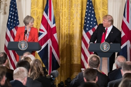 epa05755132 US President Donald J. Trump (R), with British Prime Minister Theresa May (L), delivers remarks during a joint press conference in the East Room of the White House in Washington, DC, USA, 27 January 2017. Prime Minister May is the first foreign head of state to meet with President Trump at the White House.  EPA/SHAWN THEW