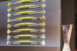 The match fixtures are shown on an electronic panel following the draw of the round of 16 of the UEFA Europa League 2016/17 at the UEFA headquarters, in Nyon, Switzerland, on Friday, February 24, 2017.