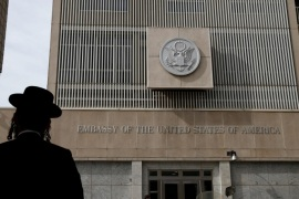 FILE PHOTO: An ultra-Orthodox Jewish man stands in front of the U.S Embassy in Tel Aviv, Israel January 24, 2017. REUTERS/Baz Ratner/File Photo