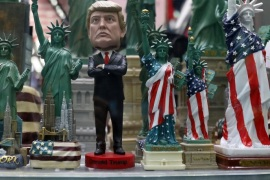 A figurine of U.S. President Donald Trump is seen in the window of a novelty store in New York, U.S., February 6, 2017. REUTERS/Shannon Stapleton          FOR EDITORIAL USE ONLY. NO RESALES. NO ARCHIVES.