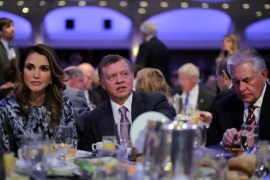 Jordan's King Abdullah (C), Queen Rania and Secretary of State Rex Tillerson (R) attend the National Prayer Breakfast in Washington, U.S., February 2, 2017. REUTERS/Carlos Barria