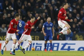 "Britain Soccer Football – Leicester City v Manchester United – Premier League – King Power Stadium – 5/2/17 Manchester United's Zlatan Ibrahimovic celebrates scoring their second goal  Reuters / Darren Staples Livepic EDITORIAL USE ONLY. No use with unauthorized audio, video, data, fixture lists, club/league logos or ""live"" services. Online in-match use limited to 45 images, no video emulation. No use in betting, games or single club/league/player publications.  Please contact your account representative for further details."