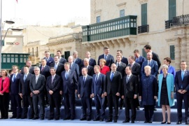 Participants pose for the family photo during an informal summit meeting of EU leaders in Valletta, Malta, 03 February 2017. The European Union (EU) leaders will address the migration situation, focusing on the Central Mediterranean route and Libya, and discuss the future of the EU after Brexit.