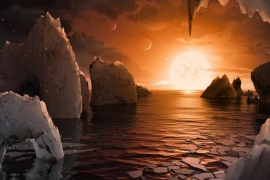 An artist's depiction shows the possible surface of TRAPPIST-1f, on one of seven newly discovered planets in the TRAPPIST-1 system that scientists using the Spitzer Space Telescope and ground based telescopes have discovered according to NASA, in this illustration released February 22, 2017.  Courtesy NASA/JPL-Caltech/Handout via REUTERS   ATTENTION EDITORS – THIS IMAGE WAS PROVIDED BY A THIRD PARTY. EDITORIAL USE ONLY.